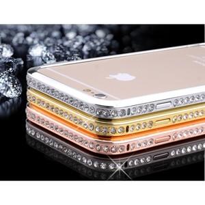 Металлический бампер со стразами для IPhone 6 (0996)
