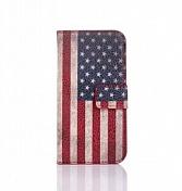 """Чехол-книжка кожа для Samsung Galaxy S4 mini """"флаг USA""""(0570)"""