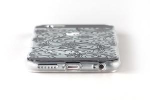 Чехол с черным узором для iPhone 6 прозрачный (0939)