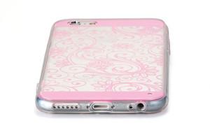 Прозрачный чехол с узором для iPhone 6 розовый (0940)